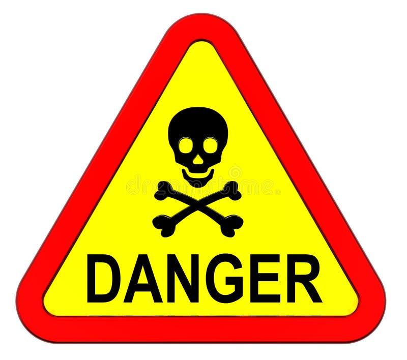 危险查出的符号警告白色 库存例证