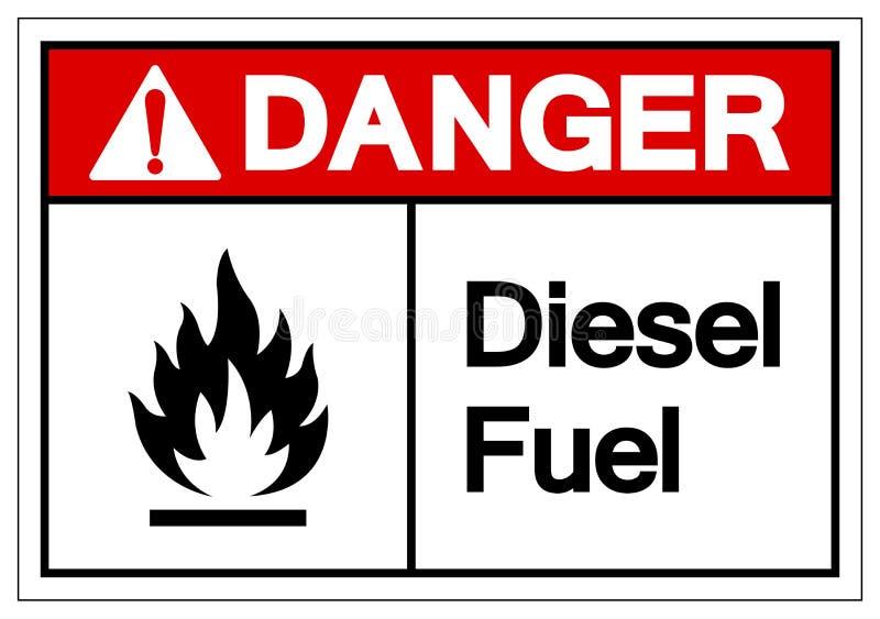 危险柴油标志标志,传染媒介例证,在白色背景标签的孤立 EPS10 皇族释放例证