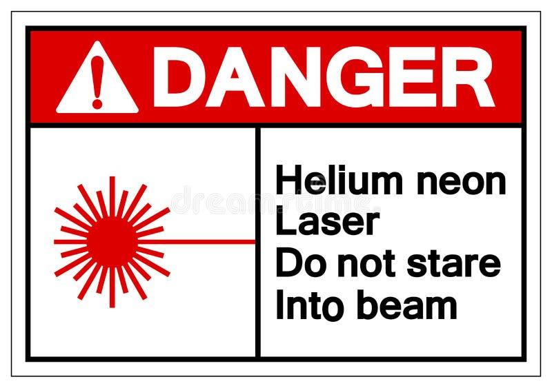 危险氦氖气体的激光不凝视入射线标志,传染媒介例证,在白色背景标签的孤立 EPS10 向量例证