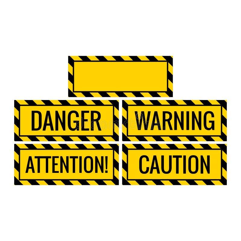 危险注意小心警报信号有空白的背景包括 皇族释放例证