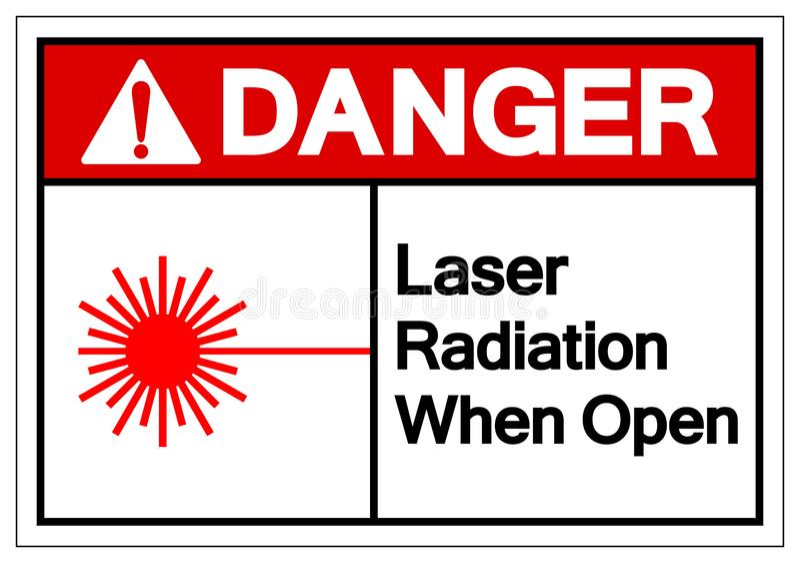 危险激光辐射,当开放标志标志,传染媒介例证,在白色背景标签的孤立 EPS10 向量例证