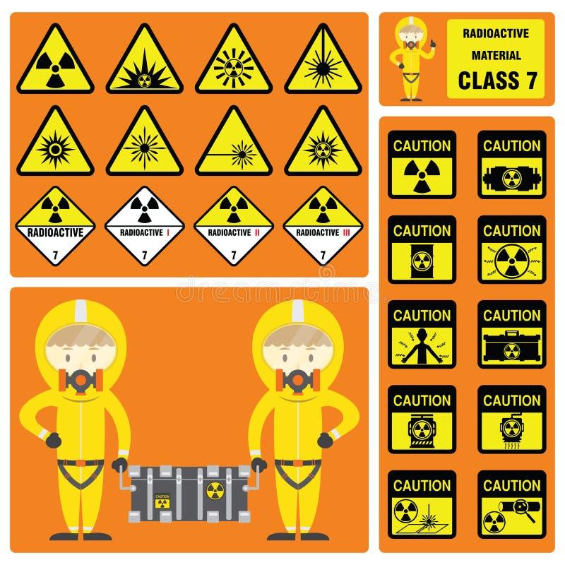 危险物品和危险物料-套放射性材料类的标志和标志 皇族释放例证