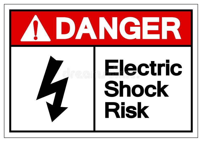 危险电击风险标志标志,传染媒介例证,在白色背景标签的孤立 EPS10 库存例证