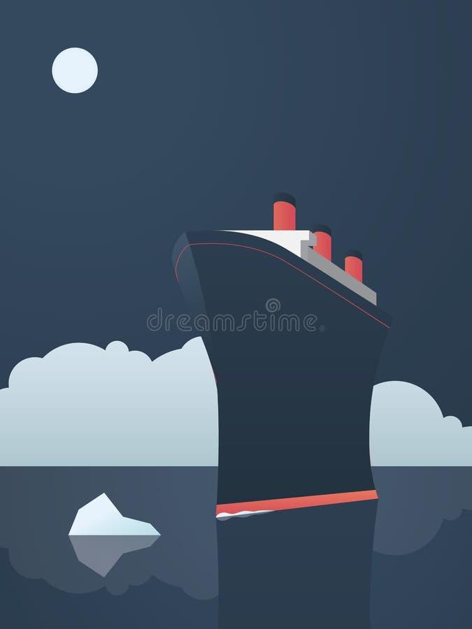 危险的冒险探险企业概念 无所畏惧的探险家船和冰山在海 向量例证