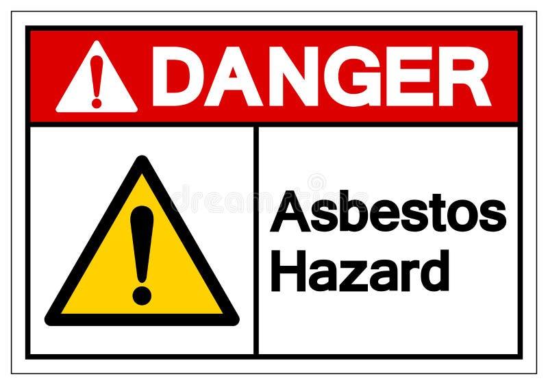 危险石棉危险标志标志,传染媒介例证,隔绝在白色背景标签 EPS10 库存例证