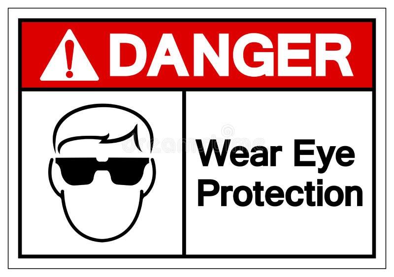 危险穿戴视力保护标志标志,传染媒介例证,在白色背景标签的孤立 EPS10 向量例证
