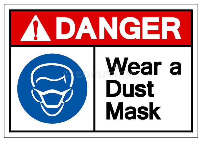 危险穿戴防尘面具标志标志,传染媒介例证,在白色背景标签的孤立 EPS10 皇族释放例证