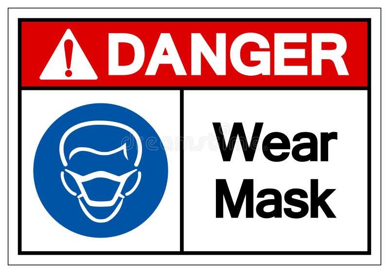 危险穿戴面具标志标志,传染媒介例证,在白色背景标签的孤立 EPS10 向量例证