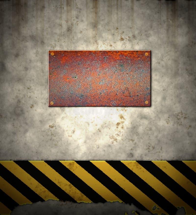 危险等级老符号墙壁警告 向量例证