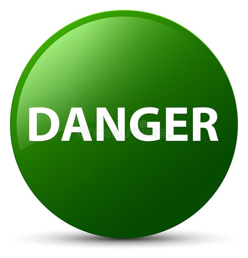 危险绿色圆的按钮 向量例证