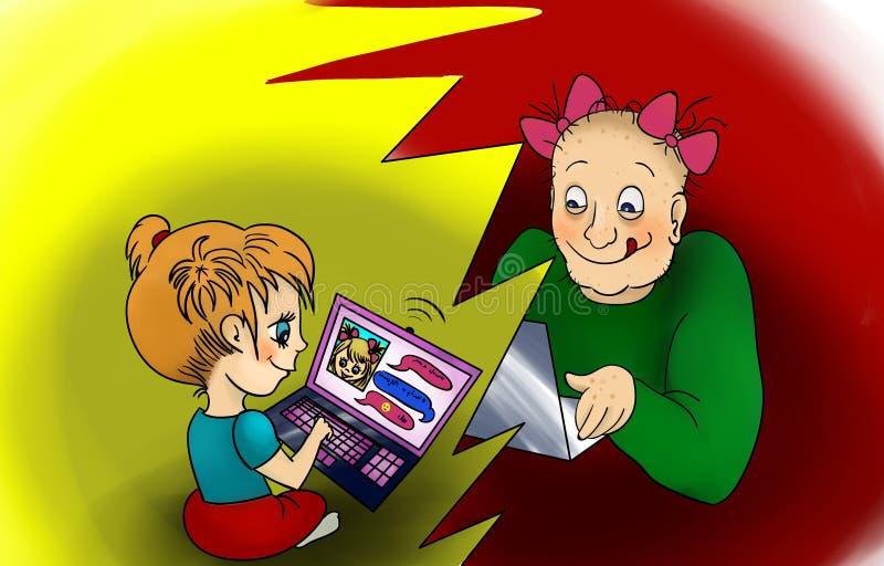 危险网上友谊概念 向量例证