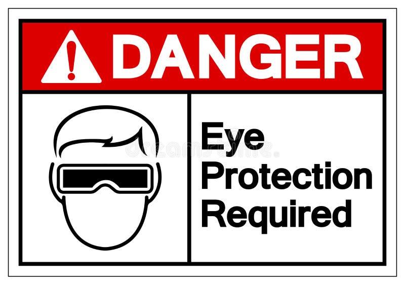 危险视力保护必需的标志标志,传染媒介例证,在白色背景标签的孤立 EPS10 向量例证