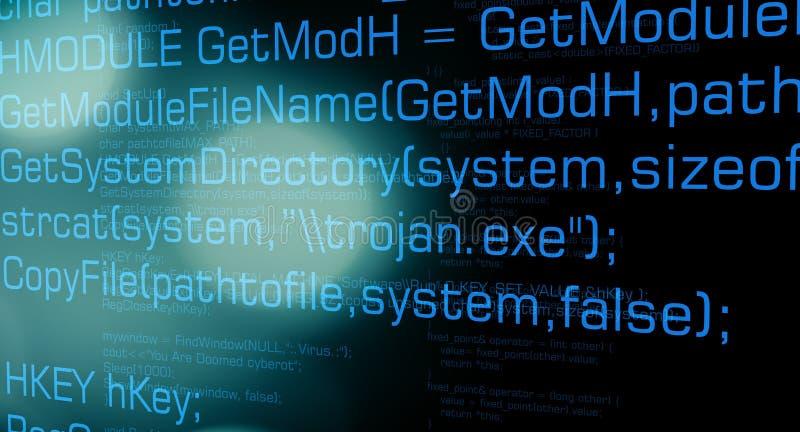 危险计算机特洛伊病毒代码 皇族释放例证
