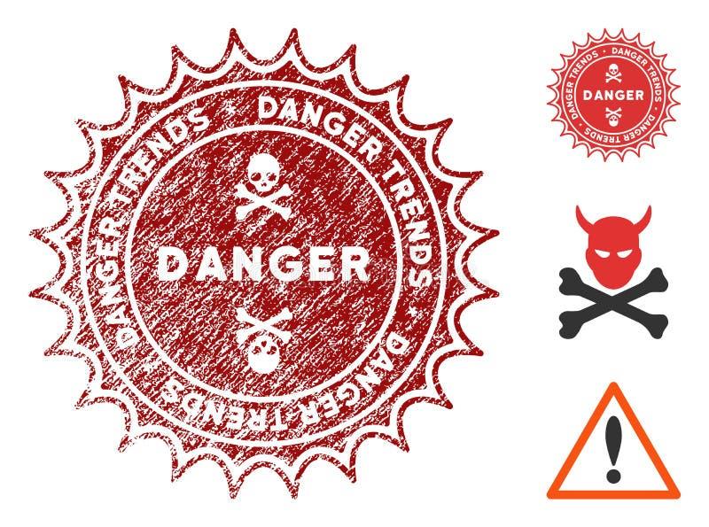 危险趋向与困厄纹理的水印 库存例证