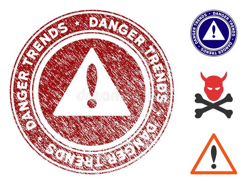 危险趋向有被抓的纹理的警告封印 皇族释放例证