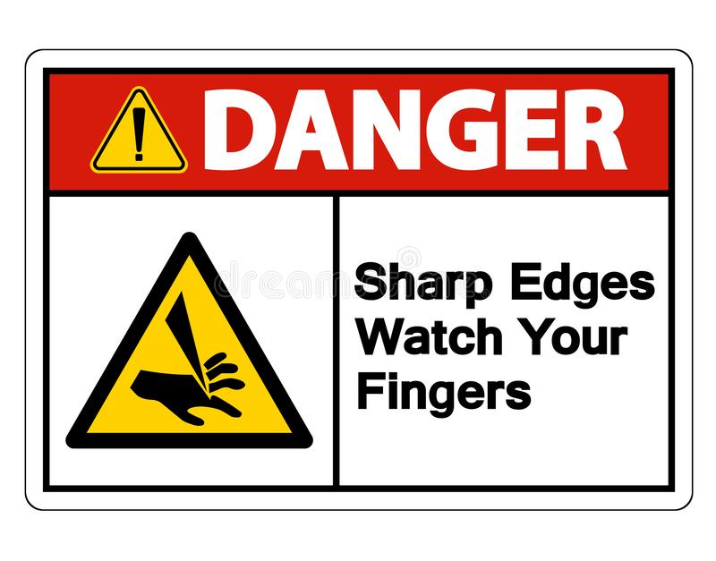 危险锐边观看您的在白色背景,传染媒介例证的手指标志孤立 向量例证