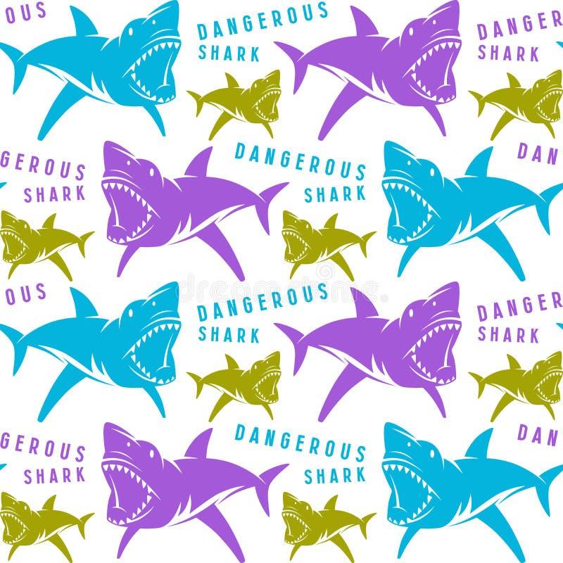 危险鲨鱼无缝的样式 皇族释放例证