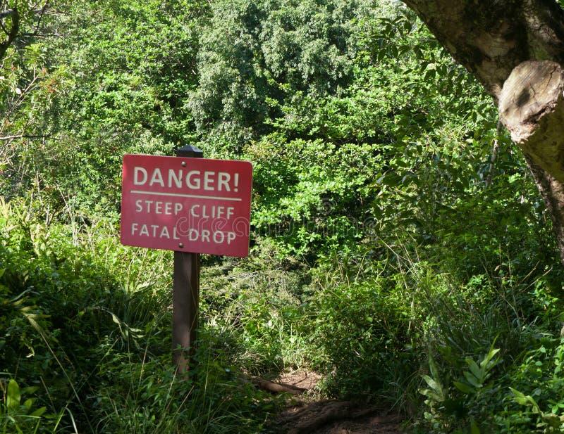 危险,峭壁标志 库存照片