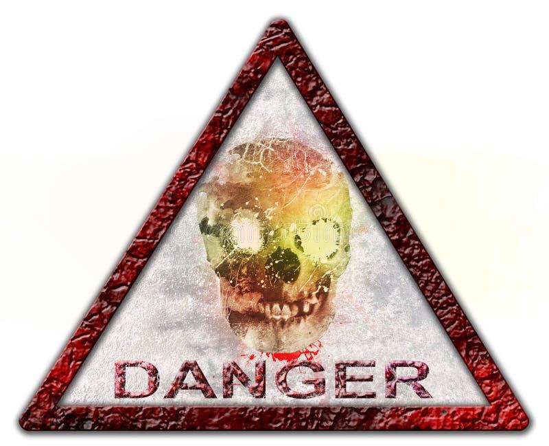 危险头骨标志或标志 免版税图库摄影