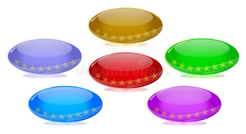 卵形发光的玻璃万维网按钮 向量例证
