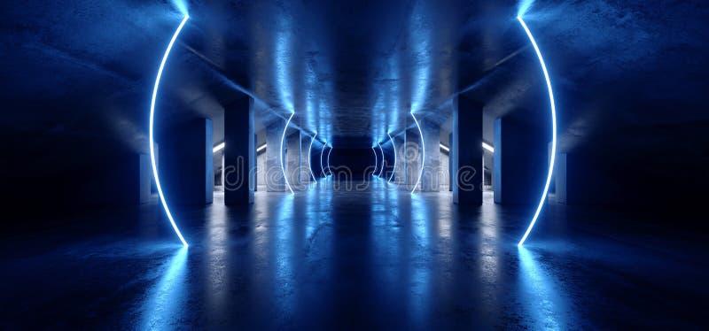 卵形弧科学幻想小说霓虹现代未来派充满活力的焕发蓝色激光展示阶段轨道道路入口门地下车库霍尔隧道 向量例证