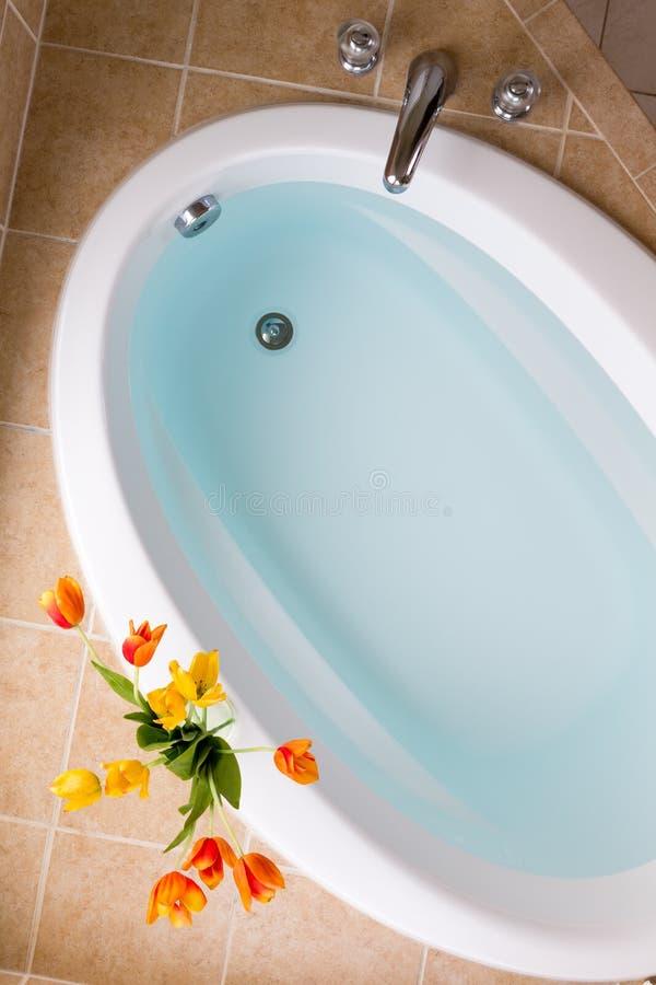 卵形浴缸充满净水 免版税库存照片