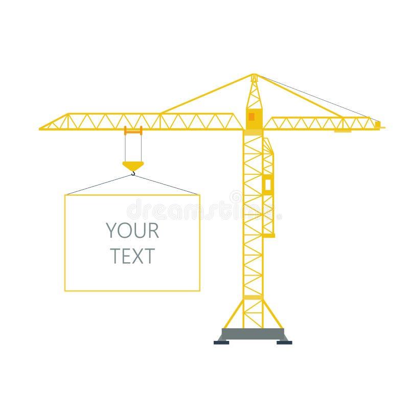 卷扬有框架的,与空间的边界的被隔绝的黄色塔起重机在白色背景的文本的 起重机增强 库存例证