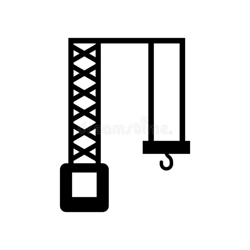 卷扬起重机在白色背景隔绝的象传染媒介,卷扬起重机标志,建筑标志 向量例证
