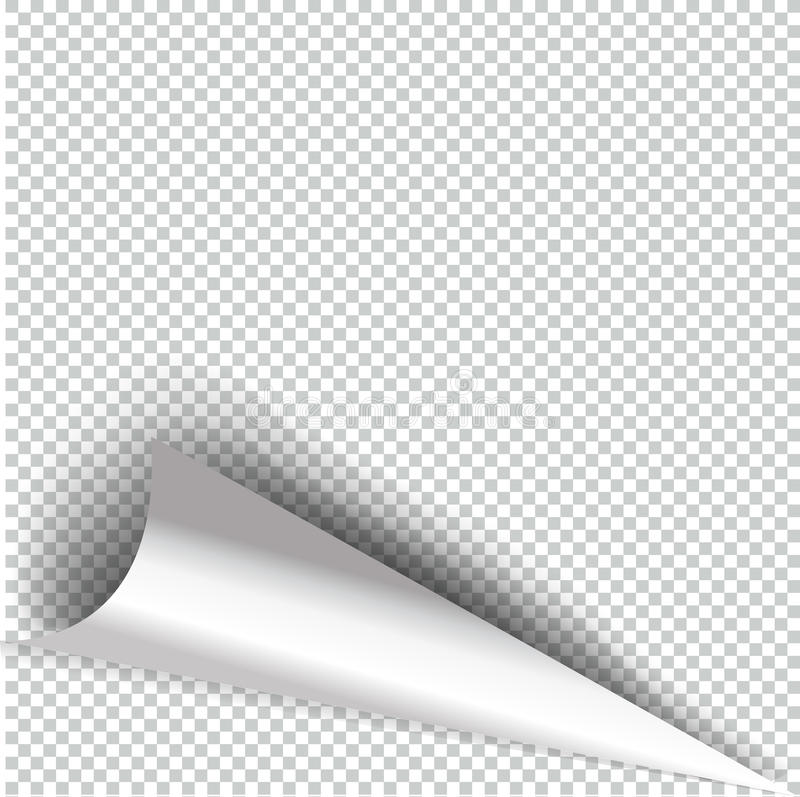 卷曲与透明阴影的页角落现实例证 库存例证