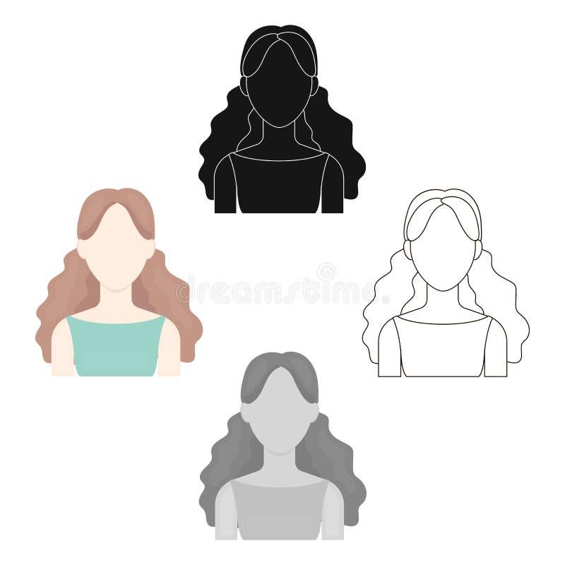 卷曲女孩象动画片,黑 唯一具体化,从大具体化动画片的peaople象,黑 皇族释放例证