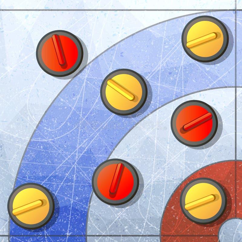 卷曲的冬天比赛 冰和石头、队和溜冰场,竞争掠过和滑动,平的传染媒介例证 库存例证