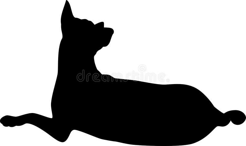 卷曲的尾巴狗剪影  向量例证