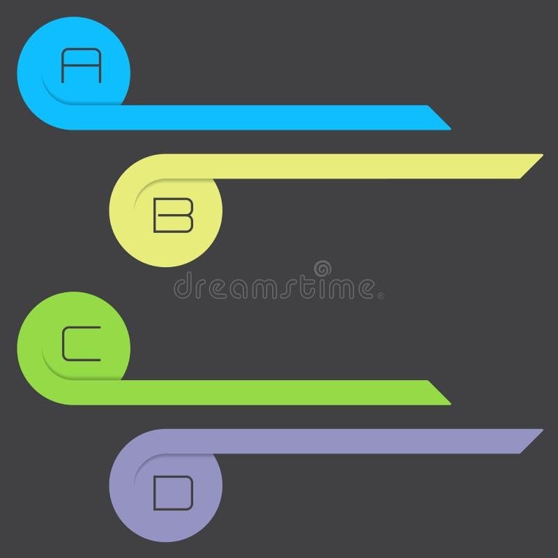 卷曲的箭头infographic与字母表选择 向量例证