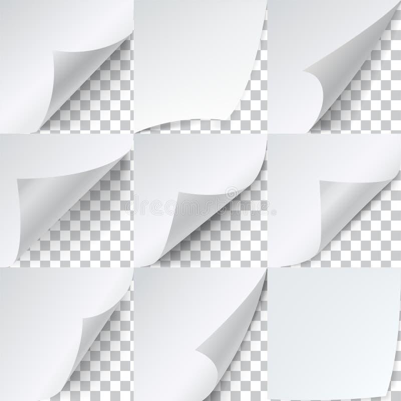 卷曲的角落纸集合,给贴纸模板做广告 皇族释放例证