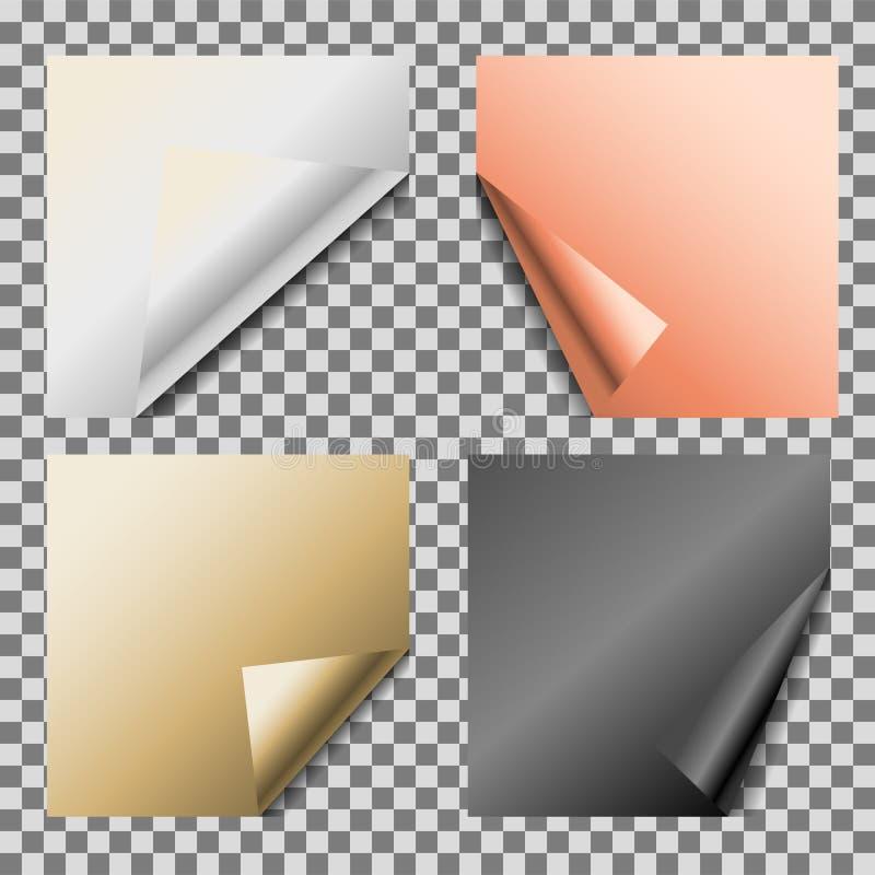卷曲的金属箔空白传染媒介空的便条纸 向量例证