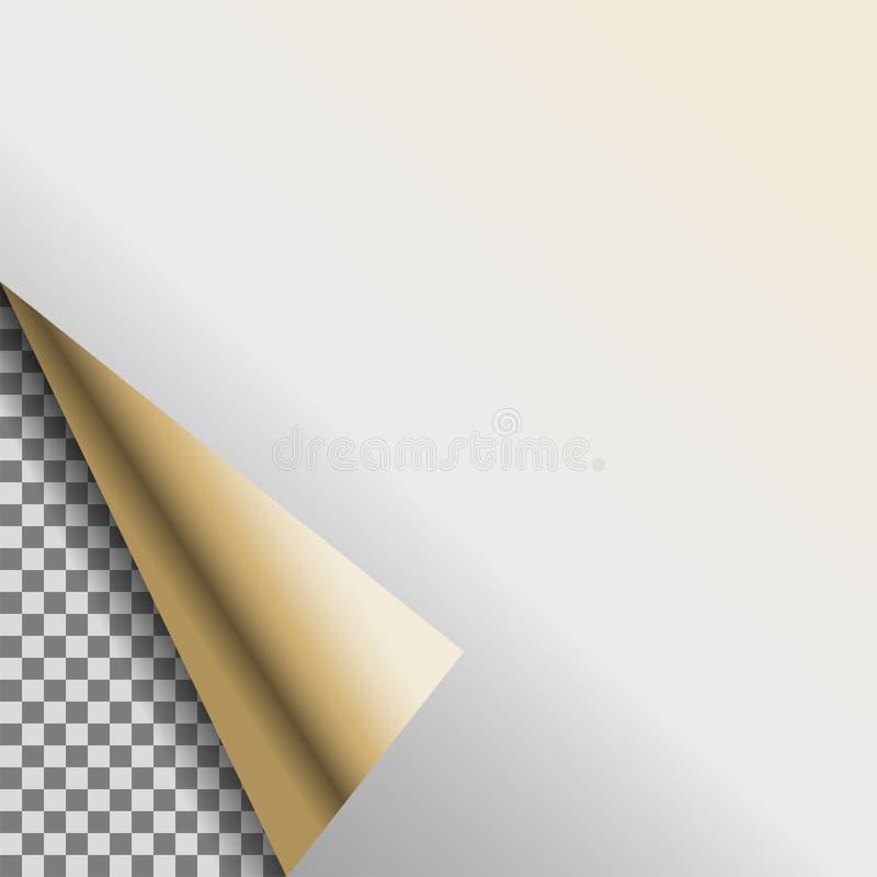 卷曲的银色白色箔空白传染媒介空标识符 库存例证