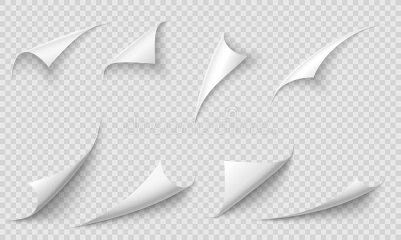 卷曲的页角落 纸的边缘、曲线页角落和纸卷毛与现实阴影传染媒介例证集合 向量例证