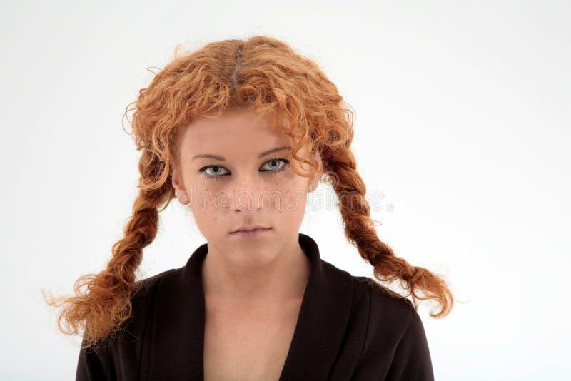 卷曲纵向红头发人 库存图片