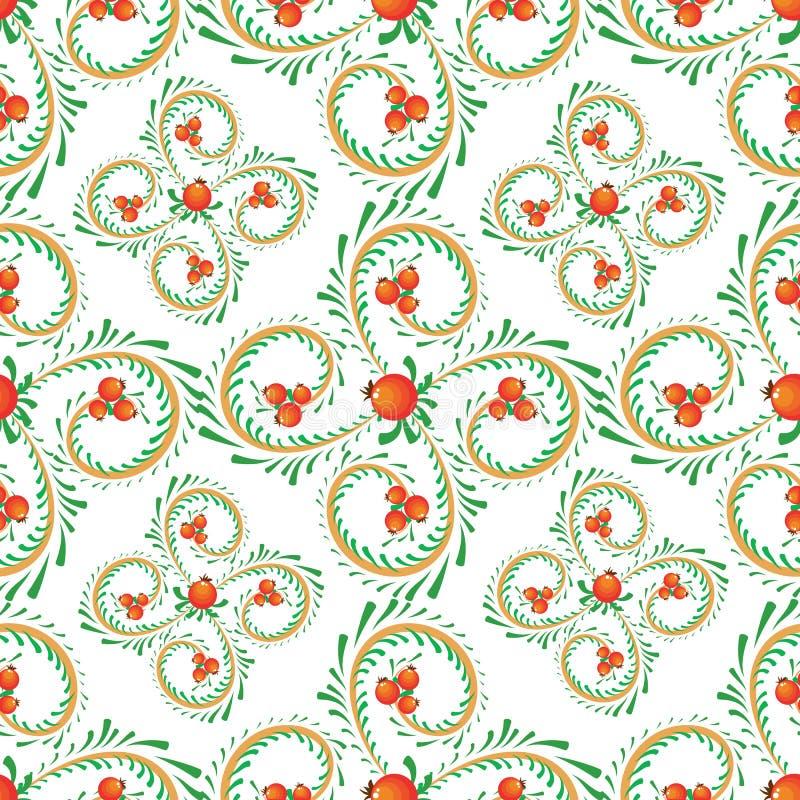 卷毛样式分支用橙色莓果 库存例证