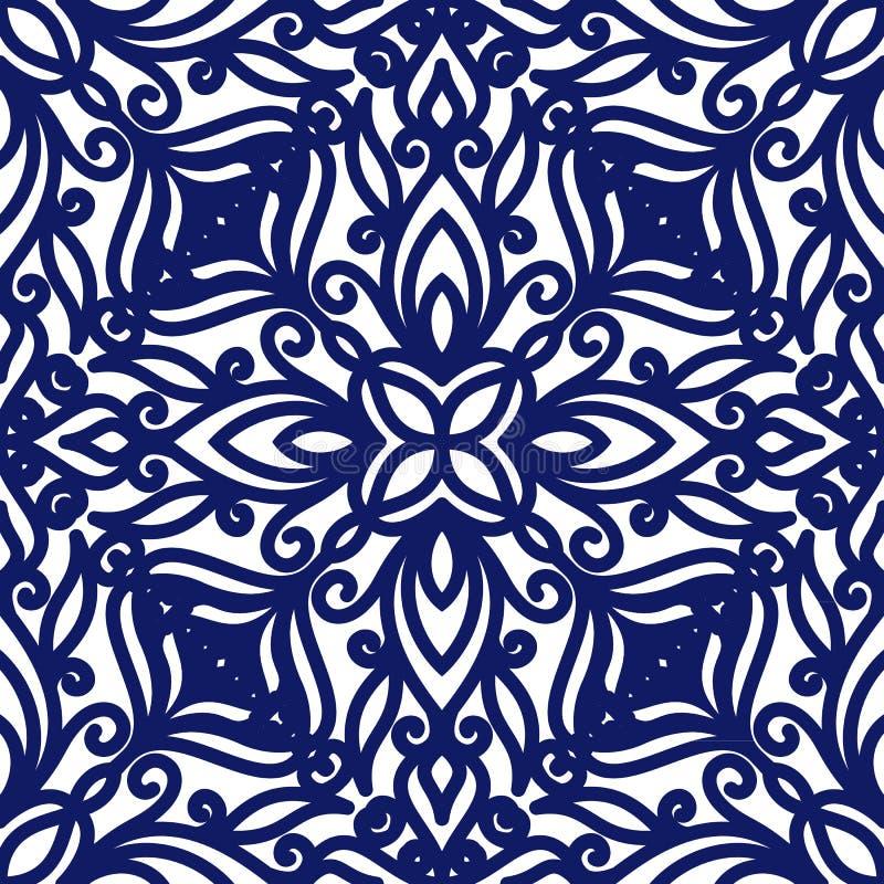 卷毛的无缝的花卉样式 背景蓝色白色 几何漩涡装饰品 图表现代样式 向量例证