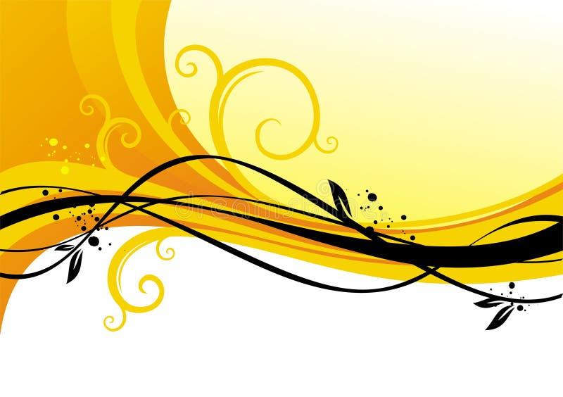 卷毛设计黄色 向量例证