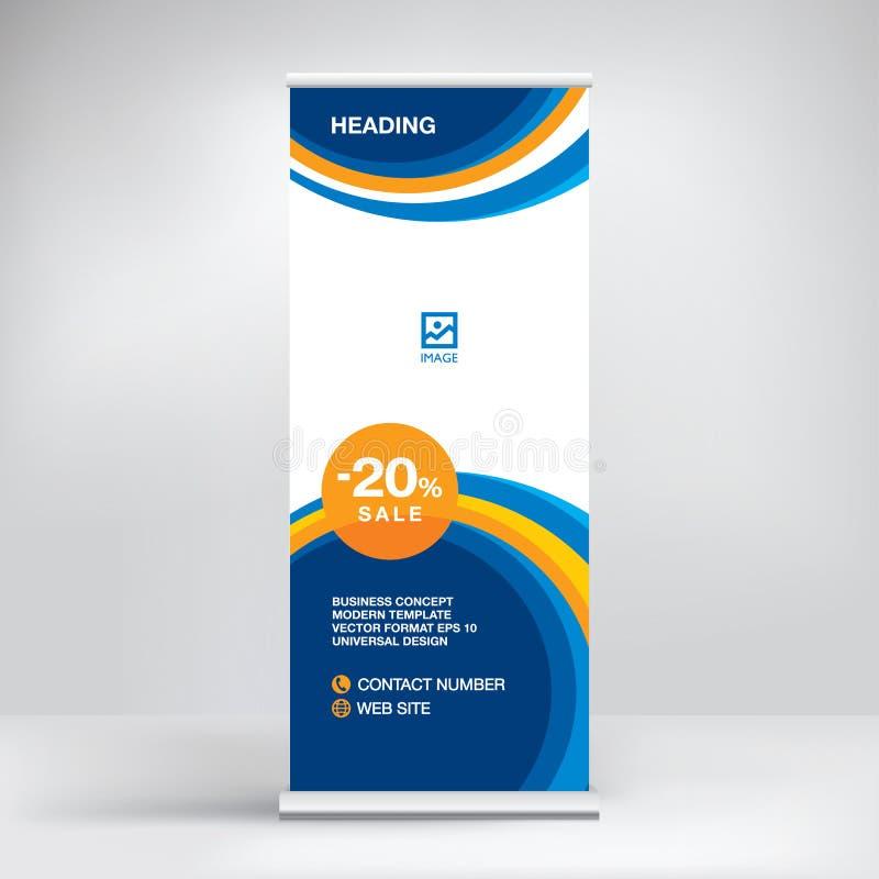 卷状食物广告横幅模板,陈列的,介绍,研讨会,现代企业概念立场设计 库存例证