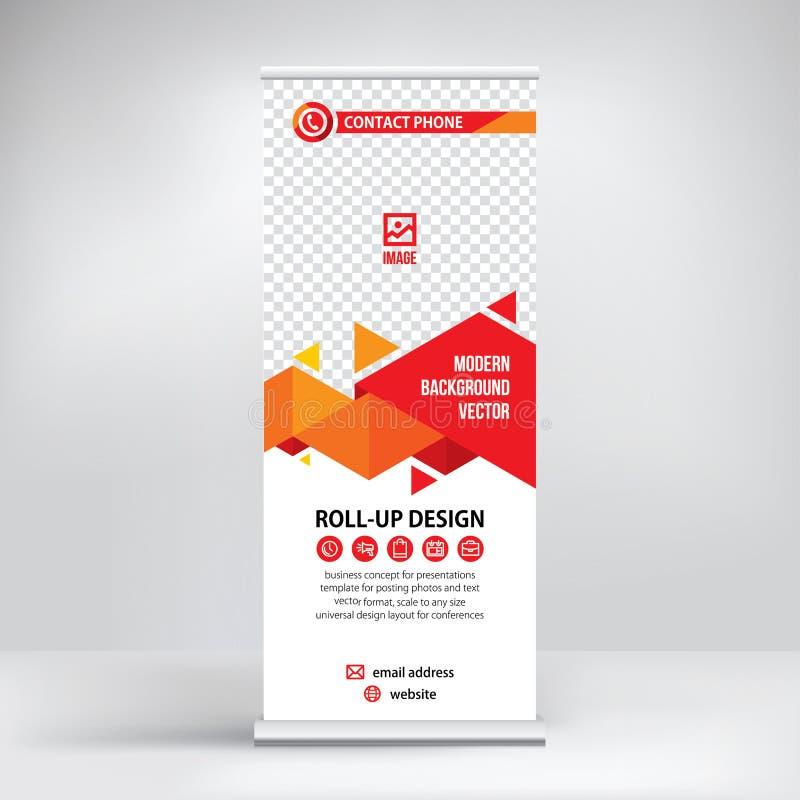 卷状食物横幅模板,陈列的,介绍,研讨会,现代企业概念立场设计 库存例证