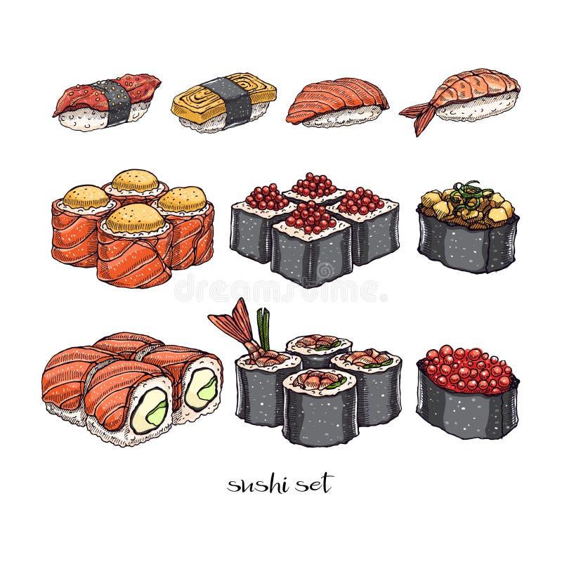 卷设置了寿司 向量例证