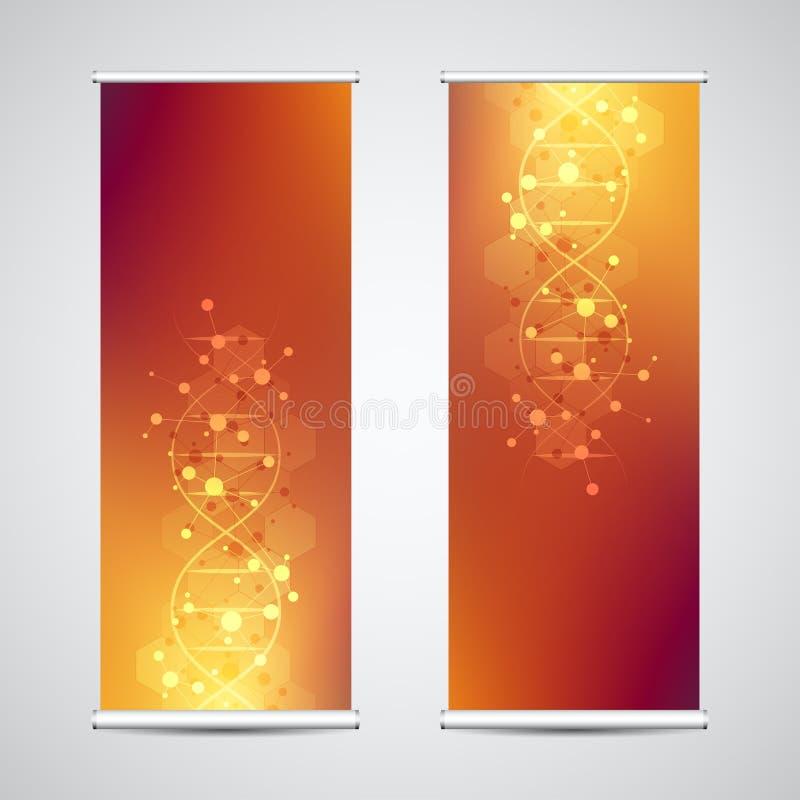 卷起与脱氧核糖核酸子线和分子结构的横幅立场 遗传工程或实验室研究 摘要 库存例证