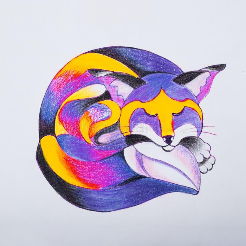 卷起和睡着狐狸的剪影 库存图片