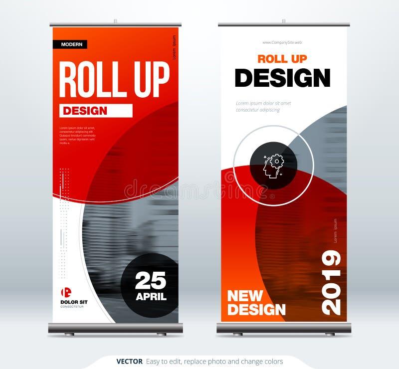 卷起横幅立场介绍概念 公司业务卷起模板背景 垂直的模板广告牌 库存例证