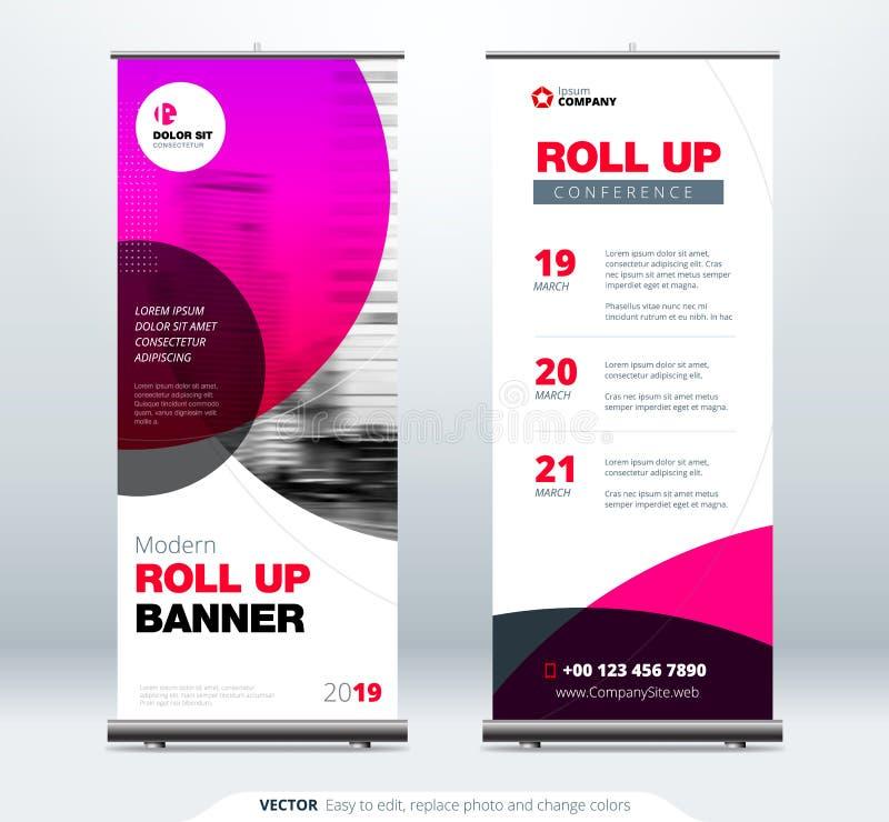 卷起横幅立场介绍概念 公司业务卷起模板背景 垂直的模板广告牌 皇族释放例证