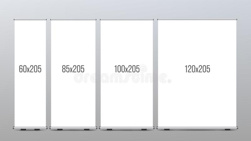 卷起横幅立场传染媒介 3d背景概念例证查出的介绍回报了白色 垂直的显示 商店的海报 空白倒空 可实现 库存例证