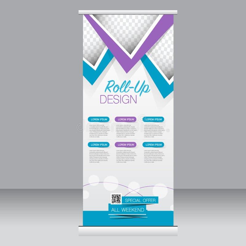 卷起横幅立场模板 设计的,事务,教育,广告抽象背景 蓝色和紫色颜色 向量 皇族释放例证